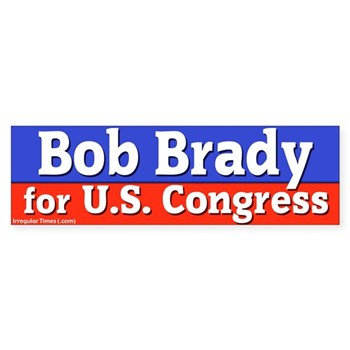 Re-Elect Bob Brady for U.S. Congress bumper sticker in patriotic red white and blue