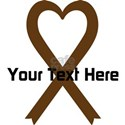 Personalized Brown Ribbon Heart White T-Shirt