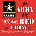 Army Wife Wears Red T-Shirt