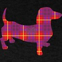 Cute Dachshund in a Tartan Pattern T-Shirt