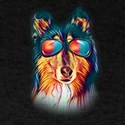 Collie Neon Dog Sunglasses T-Shirt