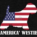 American Westie Dog Flag Memorial Day USA T-Shirt