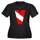 Scuba Flag Letter V Women's Plus Size V-Neck Dark