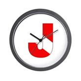 Scuba Flag Letter J Wall Clock