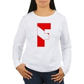 Scuba Flag Letter F Women's Long Sleeve T-Shirt