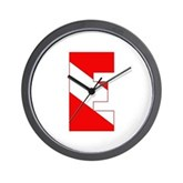 Scuba Flag Letter E Wall Clock