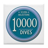 10000 Dives Milestone Tile Coaster