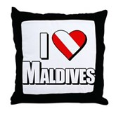 Scuba: I Love Maldives Throw Pillow