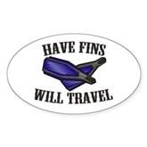 Have Fins Will Travel Oval Sticker