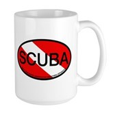 Scuba Oval Dive Flag Large Mug